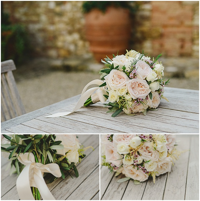 Rustic wedding in Tuscany - Featured on My Lovely Wedding Blog.  - Brides bouquet with pastel colours and roses.