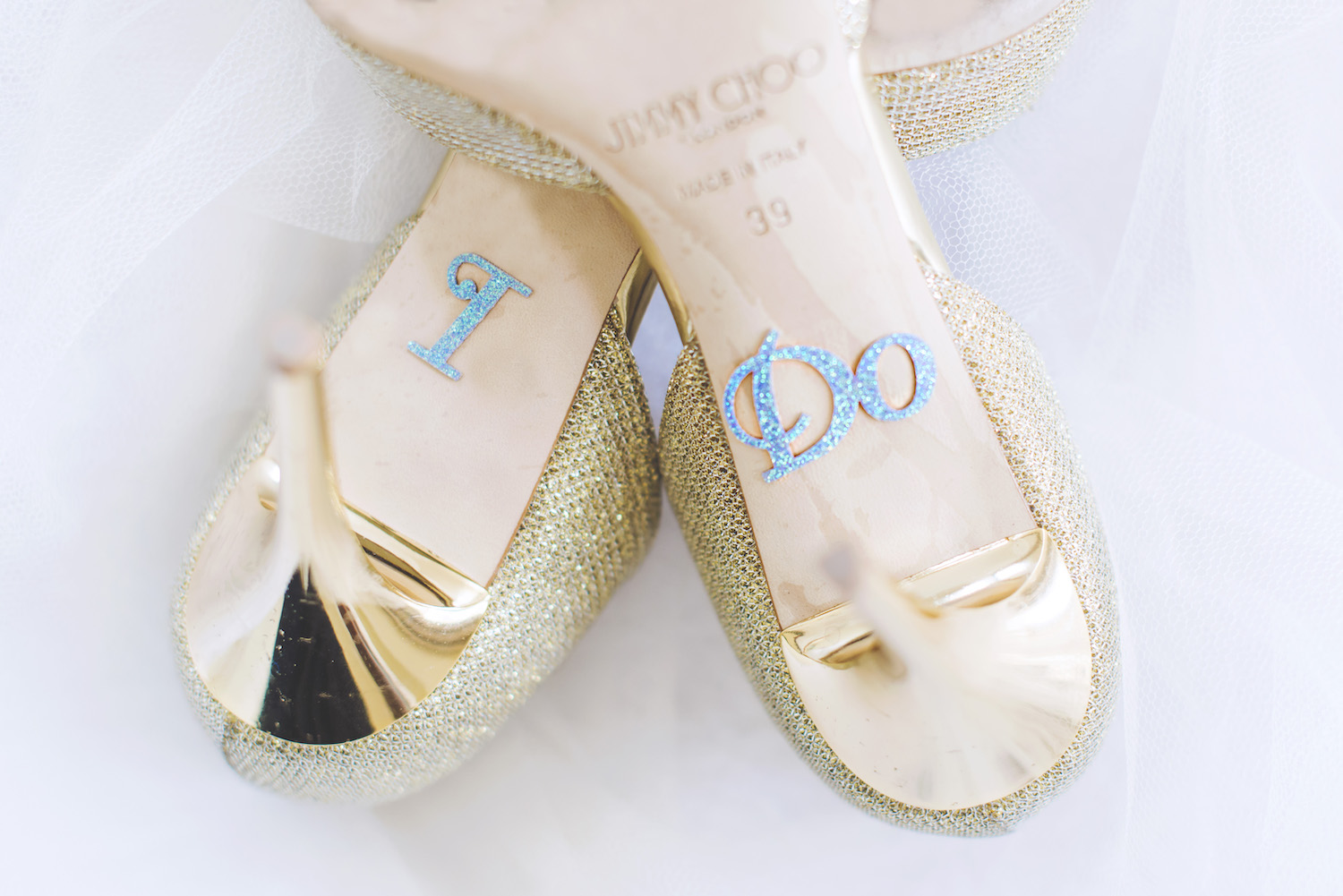Gold Jimmy Choo Wedding Shoes With I Do Sticker
