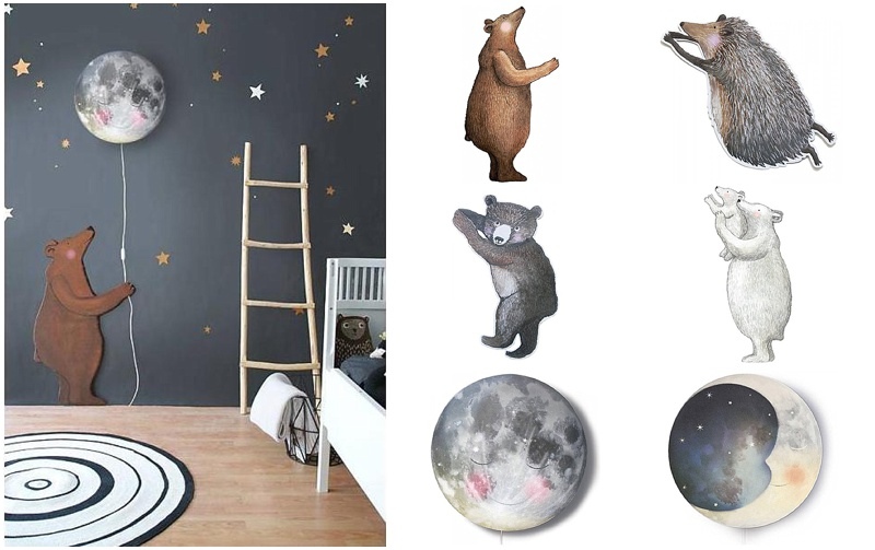 Sleepy moon and bear nursery decor